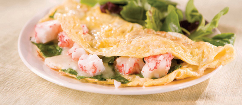 Crab, Spinach and Mozzarella Omelet