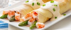 Crab Classic, Ham & Asparagus Filled Crepes