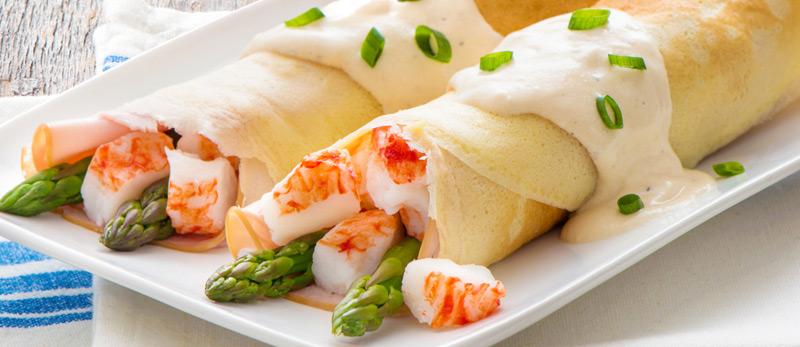 Crab Classic, Ham & Asparagus Filled Crepes