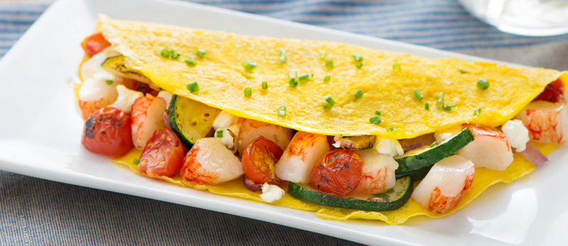 Crab Classic & Roasted Vegetable Omelet