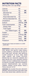 TO Crab Classic Shred Style nutri-facts