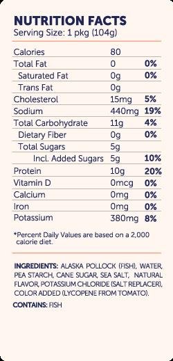 TO Simply Surimi Seafood Sticks nutri-facts