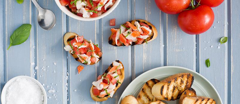crab classic bruschetta